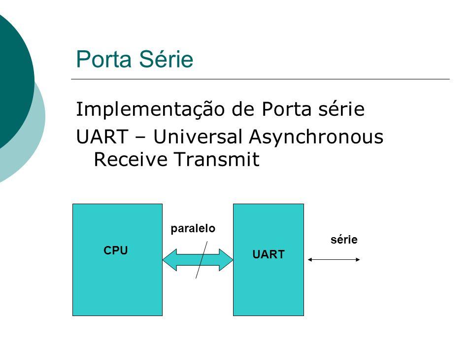 Porta Série Implementação de Porta série UART – Universal Asynchronous Receive Transmit CPU UART série paralelo