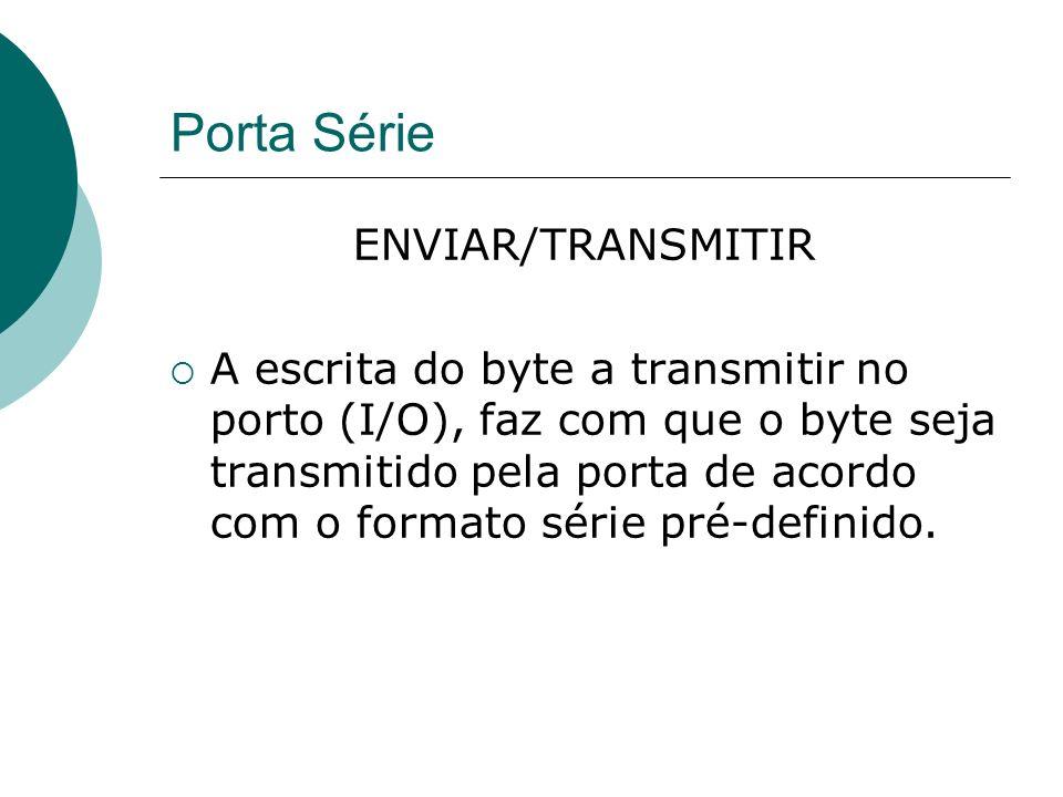 Porta Série ENVIAR/TRANSMITIR A escrita do byte a transmitir no porto (I/O), faz com que o byte seja transmitido pela porta de acordo com o formato sé