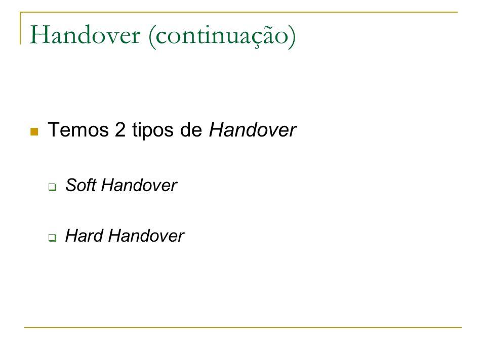 Handover (continuação) Temos 2 tipos de Handover Soft Handover Hard Handover