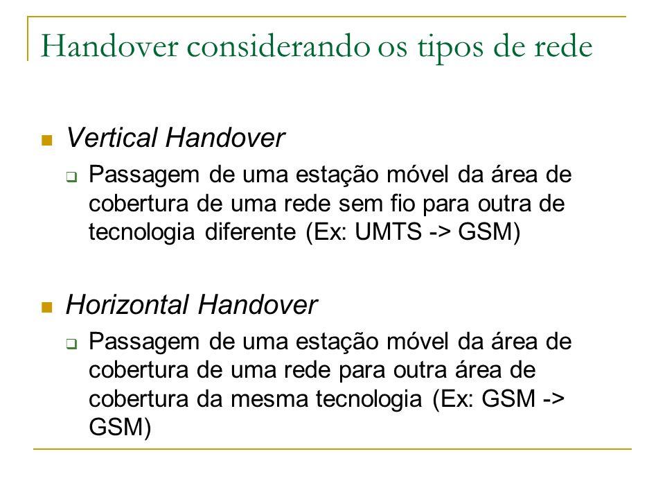 Handover considerando os tipos de rede Vertical Handover Passagem de uma estação móvel da área de cobertura de uma rede sem fio para outra de tecnolog