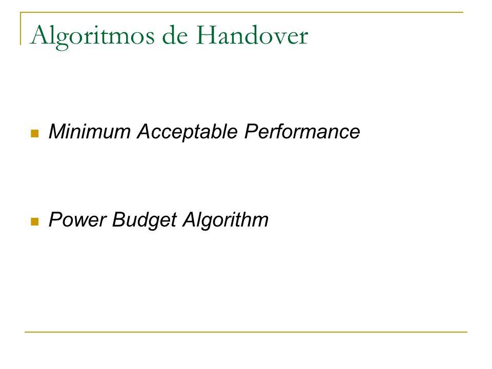 Algoritmos de Handover Minimum Acceptable Performance Power Budget Algorithm