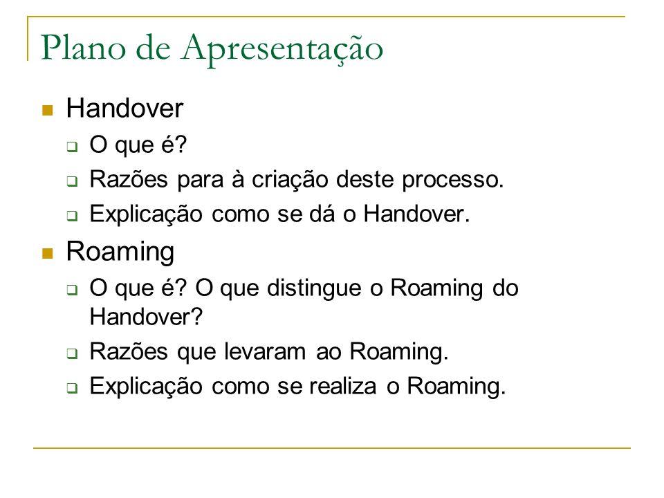 Plano de Apresentação Handover O que é? Razões para à criação deste processo. Explicação como se dá o Handover. Roaming O que é? O que distingue o Roa