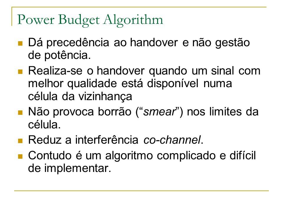 Power Budget Algorithm Dá precedência ao handover e não gestão de potência. Realiza-se o handover quando um sinal com melhor qualidade está disponível