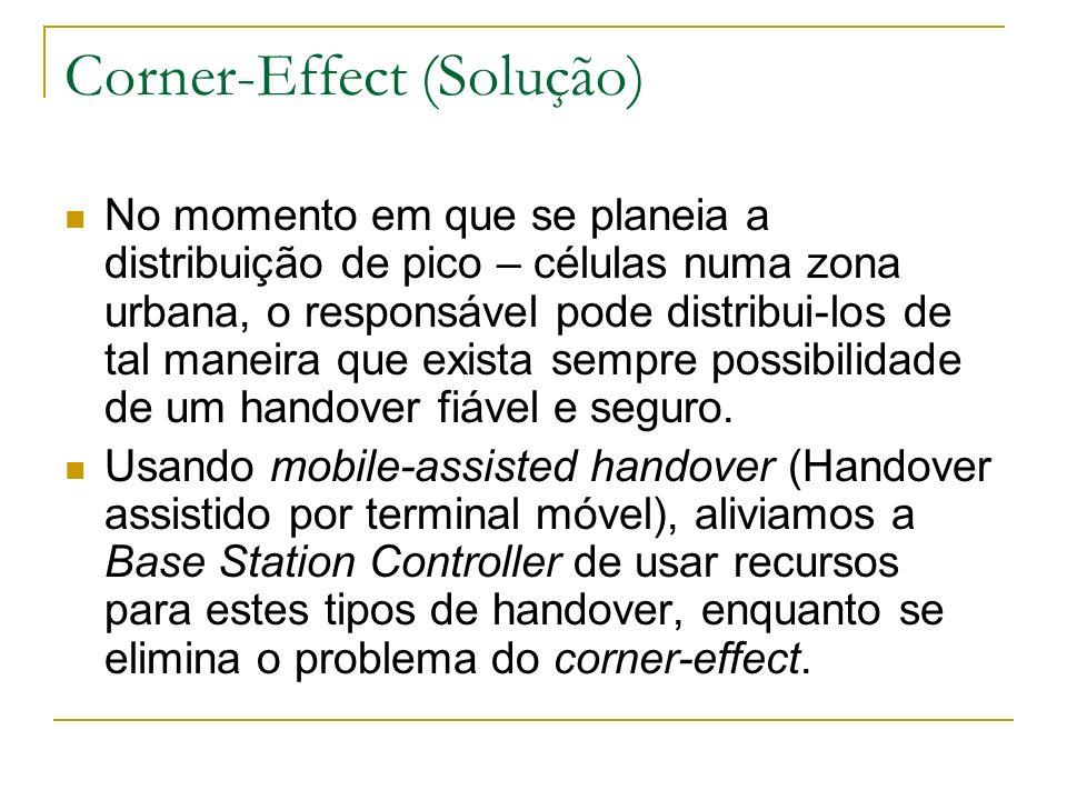 Corner-Effect (Solução) No momento em que se planeia a distribuição de pico – células numa zona urbana, o responsável pode distribui-los de tal maneir
