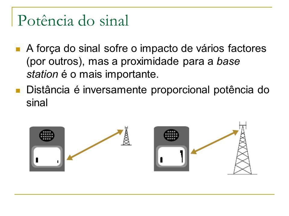 Potência do sinal A força do sinal sofre o impacto de vários factores (por outros), mas a proximidade para a base station é o mais importante. Distânc