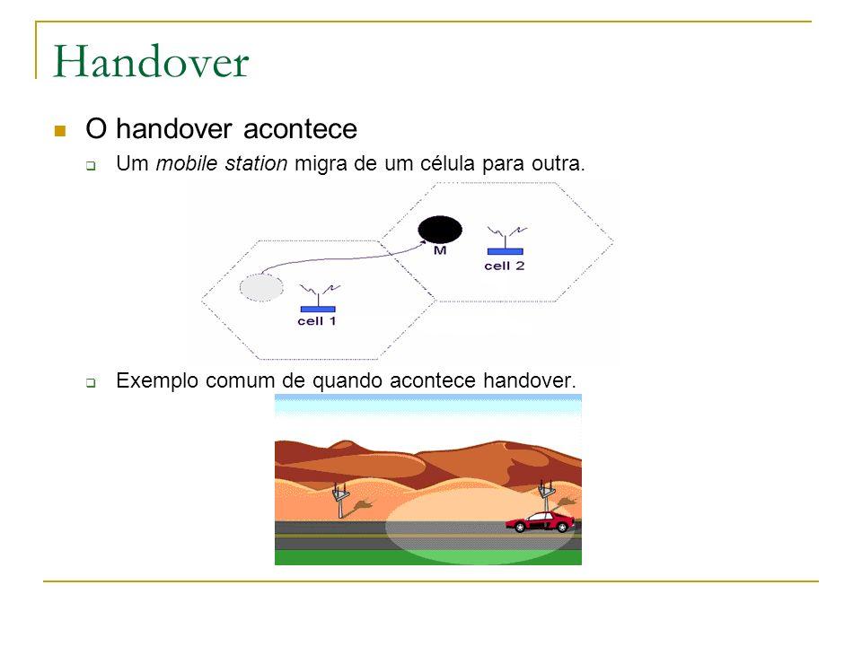 Handover O handover acontece Um mobile station migra de um célula para outra. Exemplo comum de quando acontece handover.