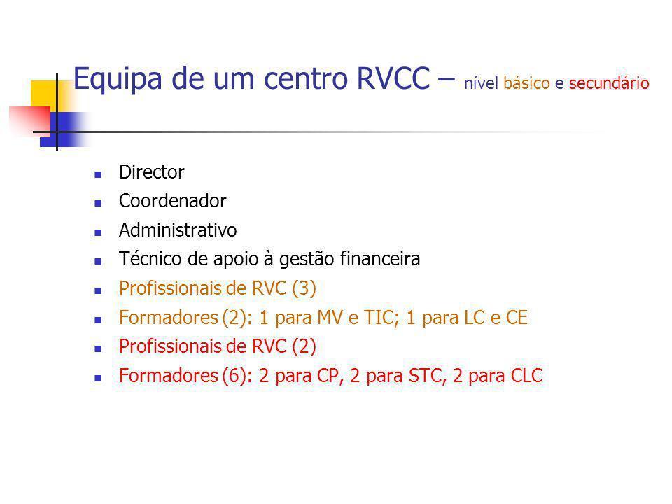 Equipa de um centro RVCC – nível básico e secundário Director Coordenador Administrativo Técnico de apoio à gestão financeira Profissionais de RVC (3)