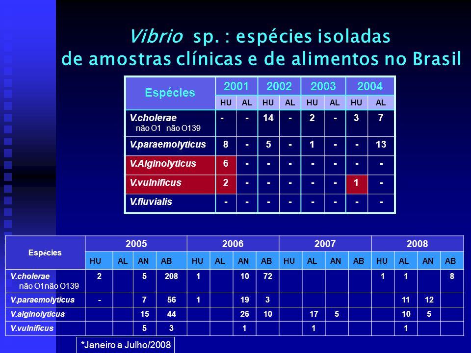 Vibrio sp. : espécies isoladas de amostras clínicas e de alimentos no Brasil Espécies 2001200220032004 HUALHUALHUALHUAL V.cholerae não O1 não O139 --1
