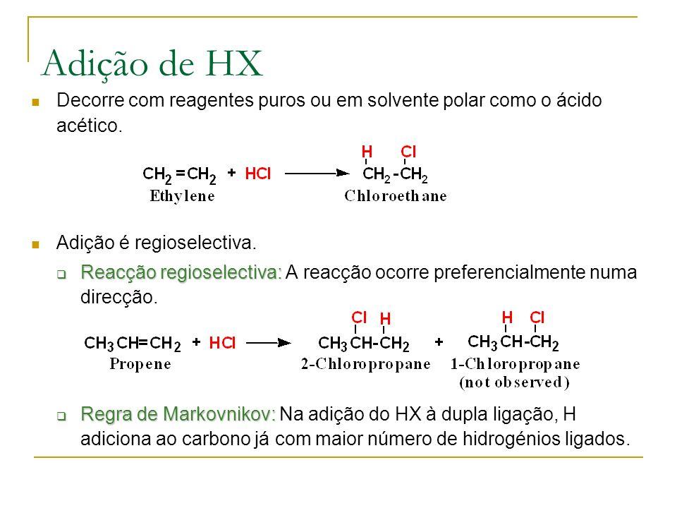 Adição de HX Decorre com reagentes puros ou em solvente polar como o ácido acético.