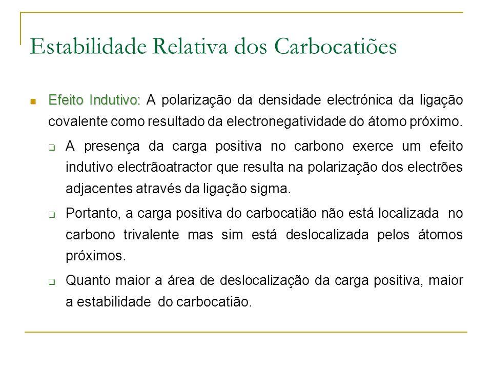 Estabilidade Relativa dos Carbocatiões Efeito Indutivo: Efeito Indutivo: A polarização da densidade electrónica da ligação covalente como resultado da electronegatividade do átomo próximo.