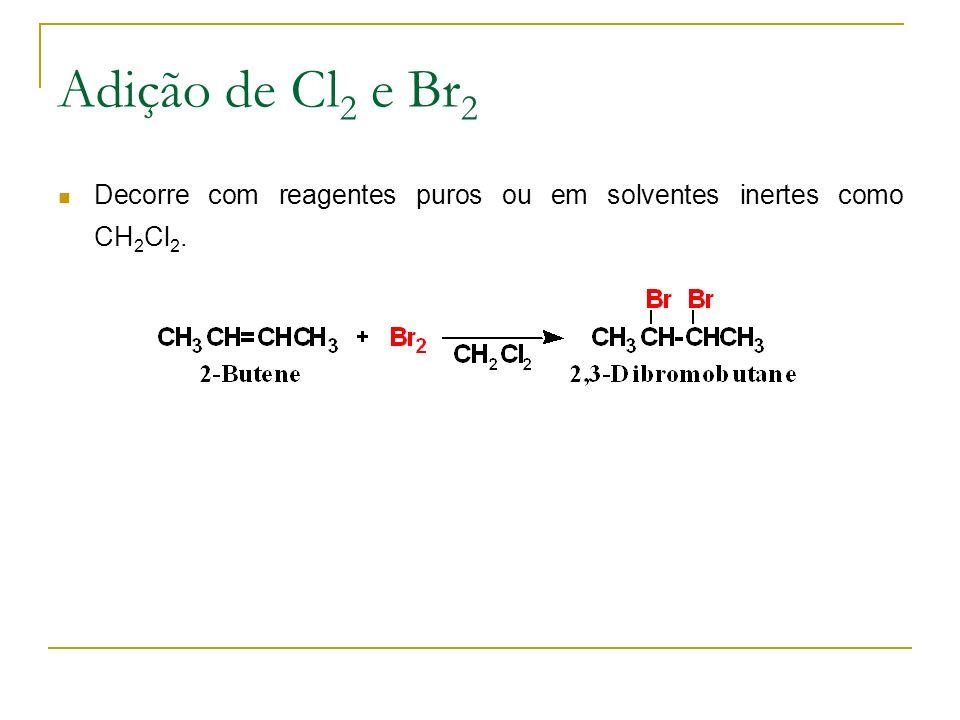 Adição de Cl 2 e Br 2 Decorre com reagentes puros ou em solventes inertes como CH 2 Cl 2.