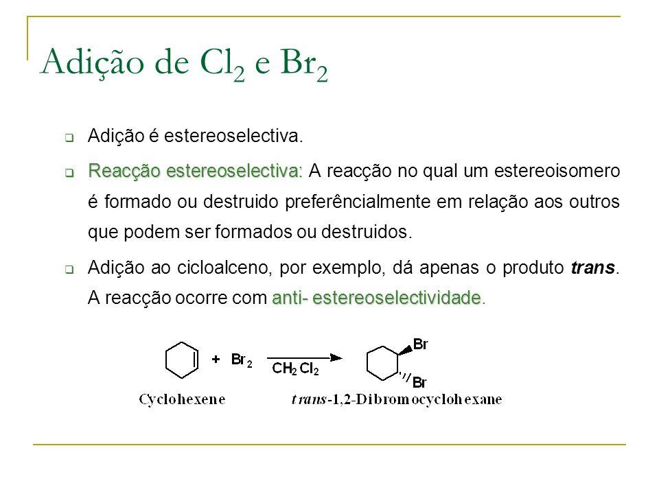 Adição de Cl 2 e Br 2 Adição é estereoselectiva.