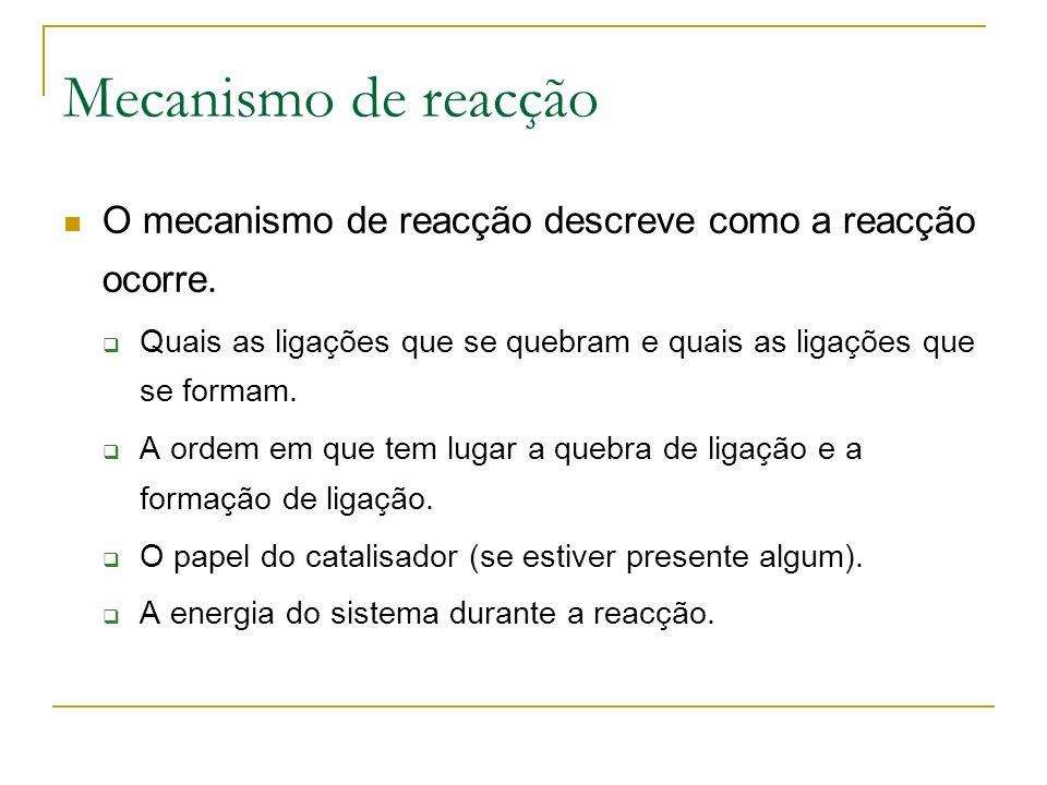 Mecanismo de reacção O mecanismo de reacção descreve como a reacção ocorre.