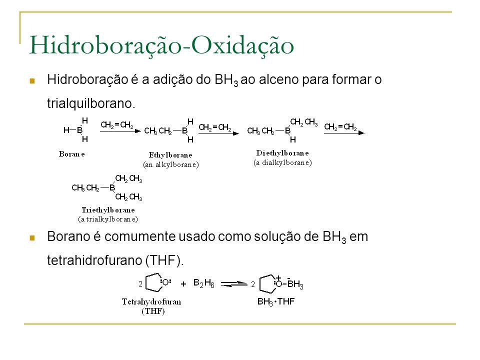 Hidroboração-Oxidação Hidroboração é a adição do BH 3 ao alceno para formar o trialquilborano.