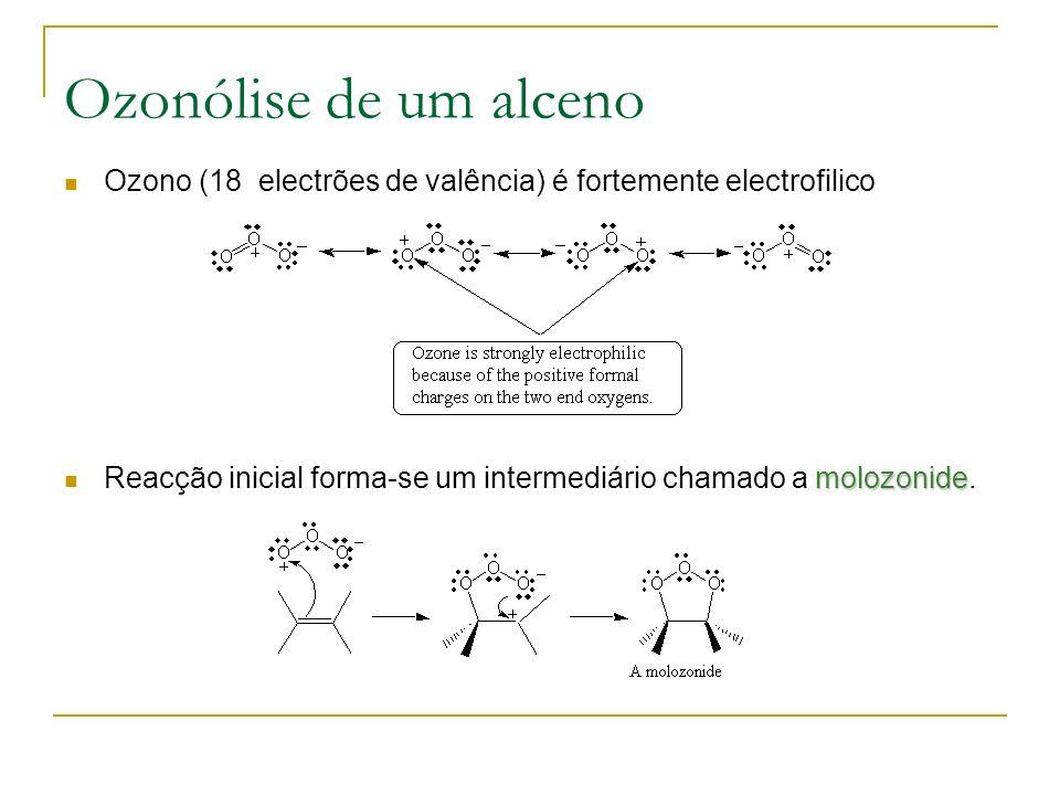 Ozonólise de um alceno Ozono (18 electrões de valência) é fortemente electrofilico molozonide Reacção inicial forma-se um intermediário chamado a molozonide.