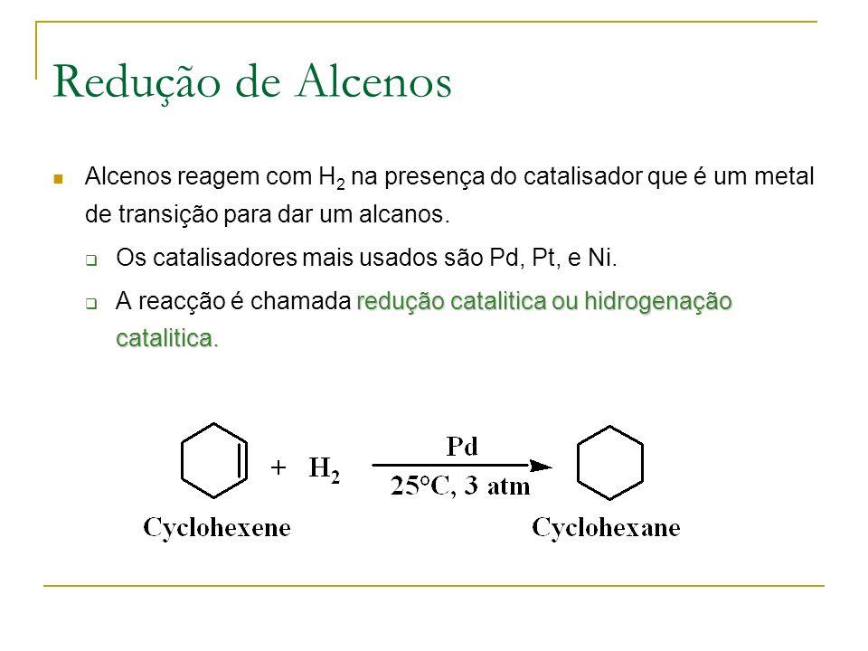 Redução de Alcenos Alcenos reagem com H 2 na presença do catalisador que é um metal de transição para dar um alcanos.