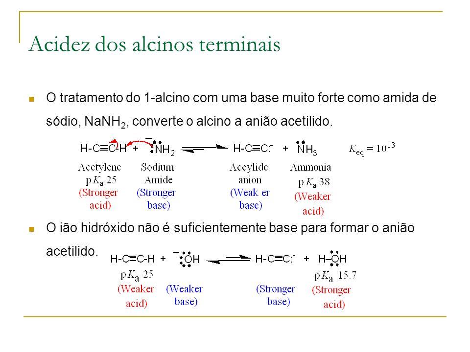 Acidez dos alcinos terminais O tratamento do 1-alcino com uma base muito forte como amida de sódio, NaNH 2, converte o alcino a anião acetilido.