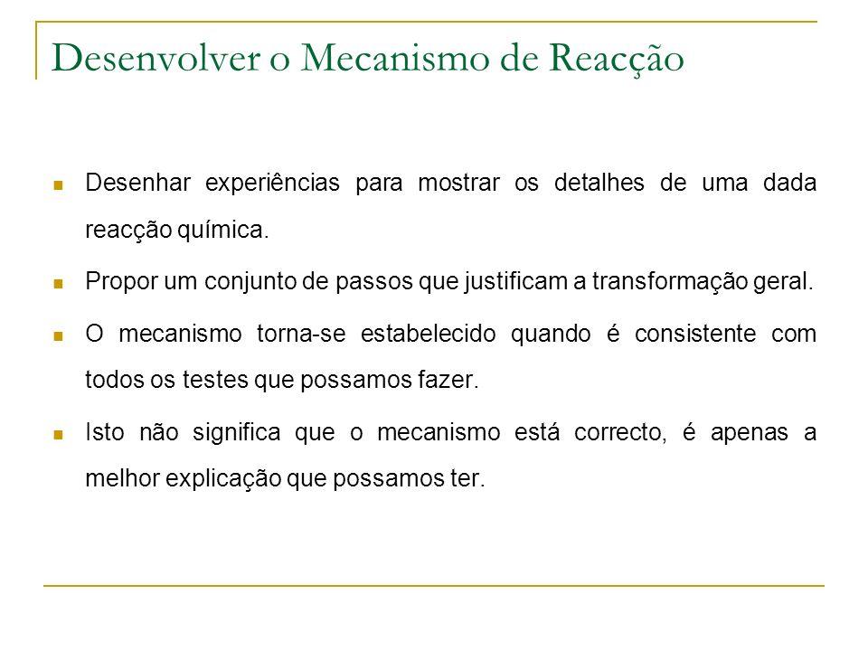 Desenvolver o Mecanismo de Reacção Desenhar experiências para mostrar os detalhes de uma dada reacção química.