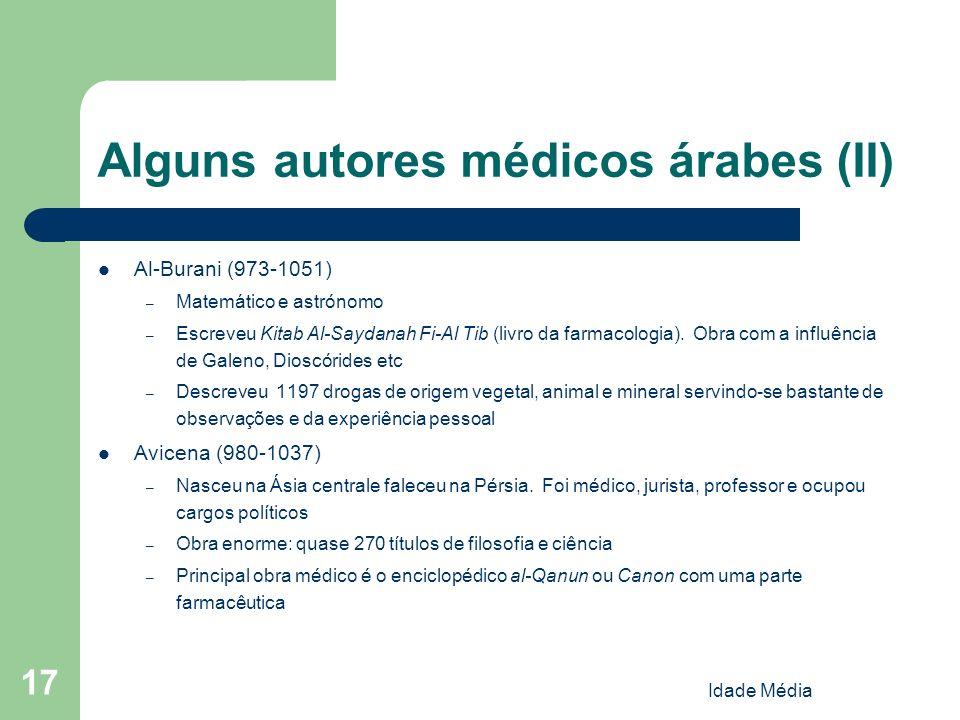 Idade Média 17 Alguns autores médicos árabes (II) Al-Burani (973-1051) – Matemático e astrónomo – Escreveu Kitab Al-Saydanah Fi-Al Tib (livro da farma