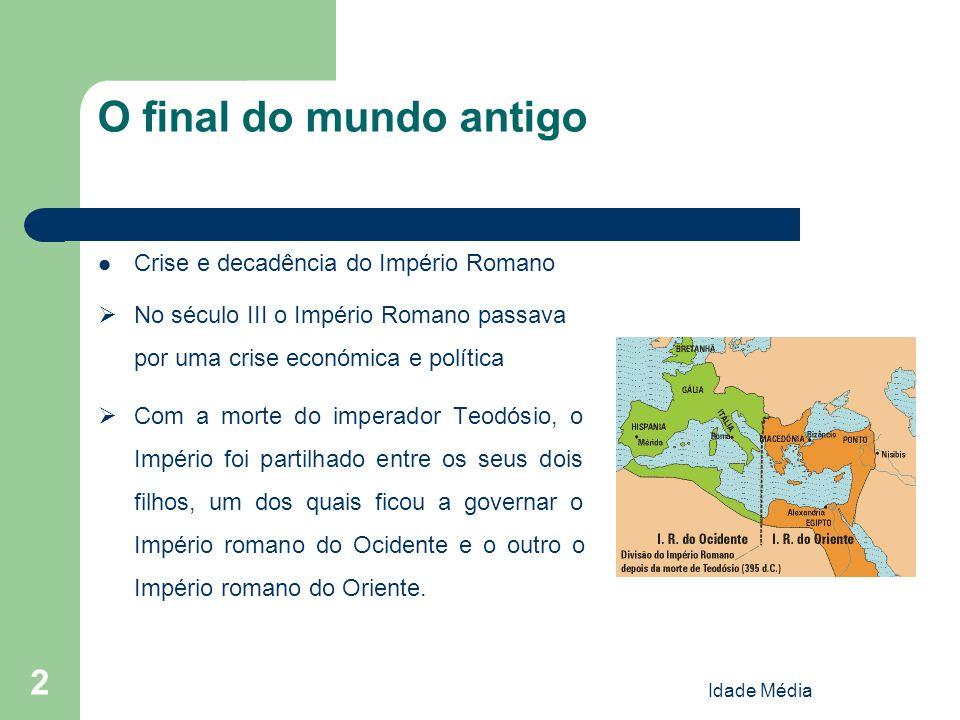 2 O final do mundo antigo Crise e decadência do Império Romano No século III o Império Romano passava por uma crise económica e política Com a morte d