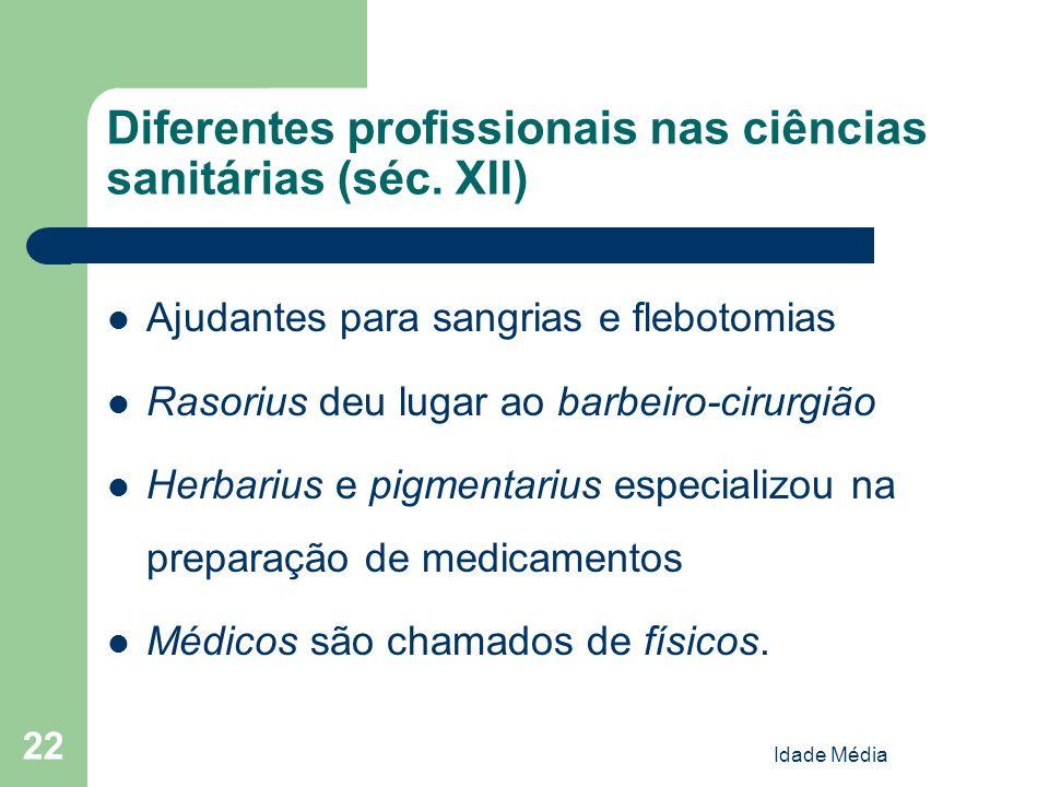 Idade Média 22 Diferentes profissionais nas ciências sanitárias (séc. XII) Ajudantes para sangrias e flebotomias Rasorius deu lugar ao barbeiro-cirurg