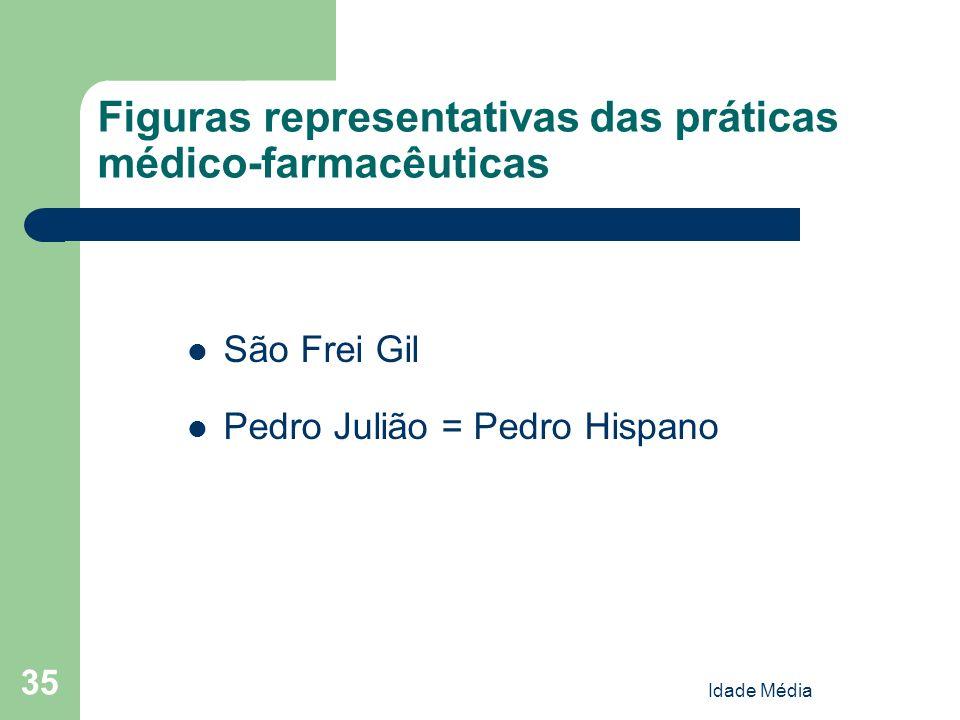 Idade Média 35 Figuras representativas das práticas médico-farmacêuticas São Frei Gil Pedro Julião = Pedro Hispano