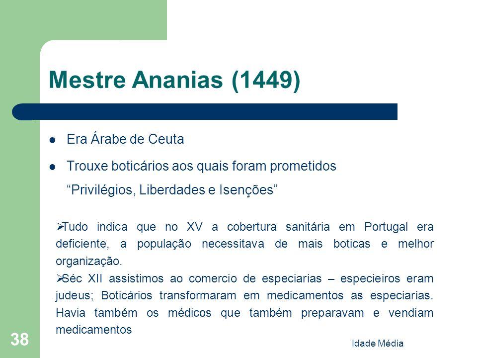 Idade Média 38 Mestre Ananias (1449) Era Árabe de Ceuta Trouxe boticários aos quais foram prometidos Privilégios, Liberdades e Isenções Tudo indica qu