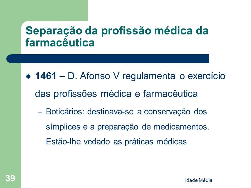 Idade Média 39 Separação da profissão médica da farmacêutica 1461 – D. Afonso V regulamenta o exercício das profissões médica e farmacêutica – Boticár