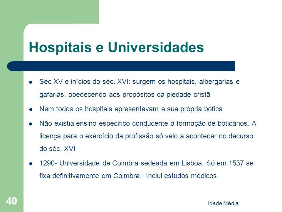 Idade Média 40 Hospitais e Universidades Séc XV e inícios do séc. XVI: surgem os hospitais, albergarias e gafarias, obedecendo aos propósitos da pieda