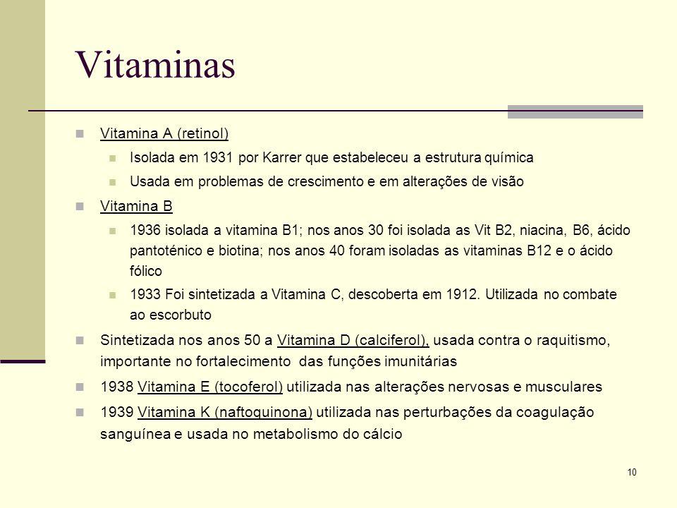 10 Vitaminas Vitamina A (retinol) Isolada em 1931 por Karrer que estabeleceu a estrutura química Usada em problemas de crescimento e em alterações de