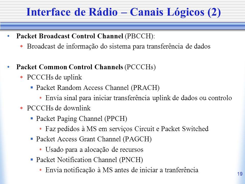 19 Interface de Rádio – Canais Lógicos (2) Packet Broadcast Control Channel (PBCCH): Broadcast de informação do sistema para transferência de dados Pa