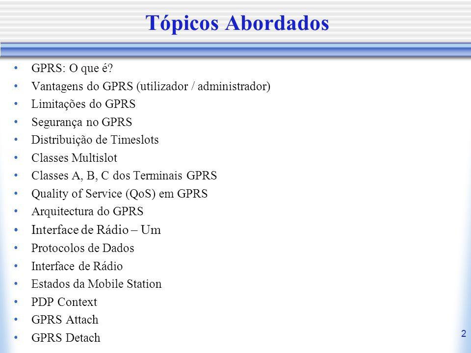 2 Tópicos Abordados GPRS: O que é? Vantagens do GPRS (utilizador / administrador) Limitações do GPRS Segurança no GPRS Distribuição de Timeslots Class