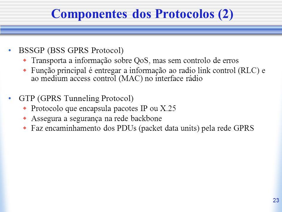 23 Componentes dos Protocolos (2) BSSGP (BSS GPRS Protocol) Transporta a informação sobre QoS, mas sem controlo de erros Função principal é entregar a