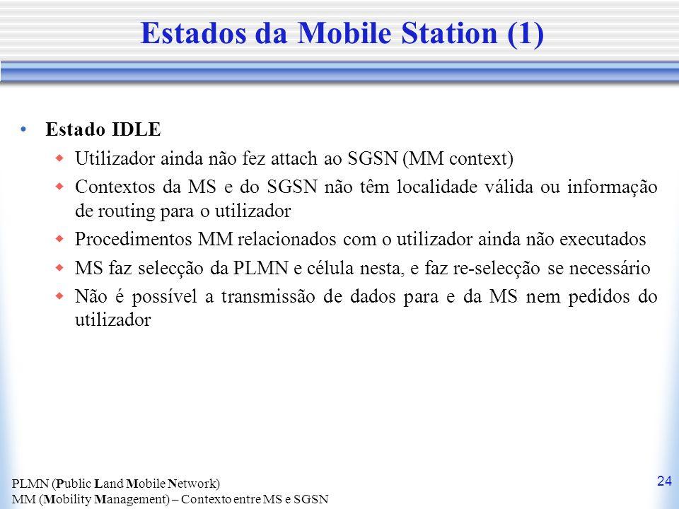 24 Estados da Mobile Station (1) Estado IDLE Utilizador ainda não fez attach ao SGSN (MM context) Contextos da MS e do SGSN não têm localidade válida