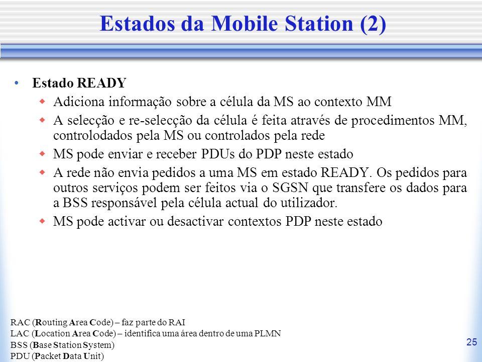 25 Estados da Mobile Station (2) Estado READY Adiciona informação sobre a célula da MS ao contexto MM A selecção e re-selecção da célula é feita atrav