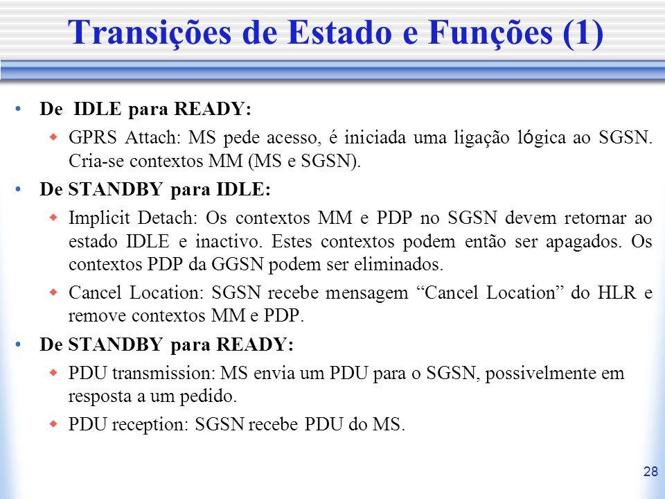 28 Transições de Estado e Funções (1) De IDLE para READY: GPRS Attach: MS pede acesso, é iniciada uma ligação l ó gica ao SGSN. Cria-se contextos MM (