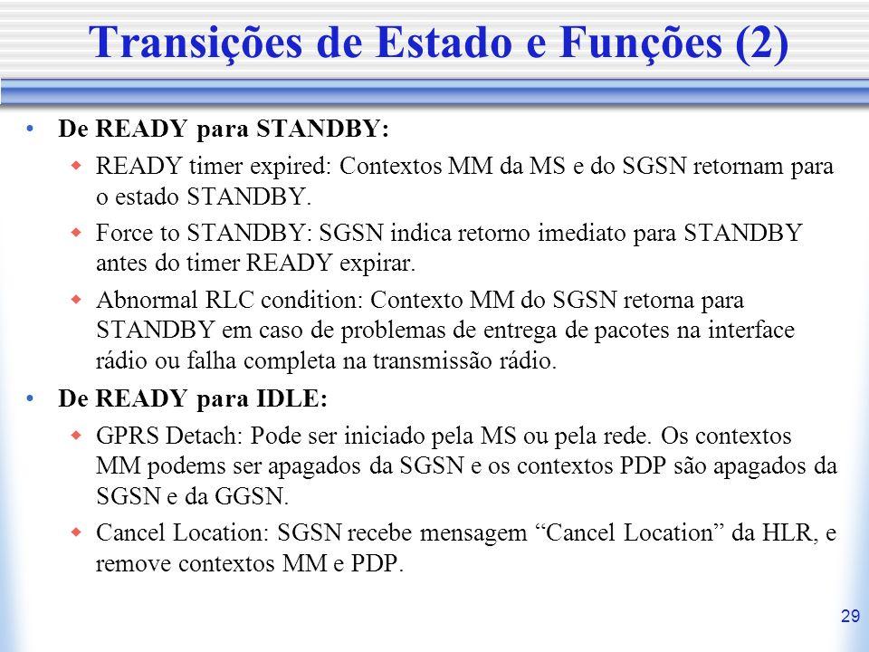 29 Transições de Estado e Funções (2) De READY para STANDBY: READY timer expired: Contextos MM da MS e do SGSN retornam para o estado STANDBY. Force t