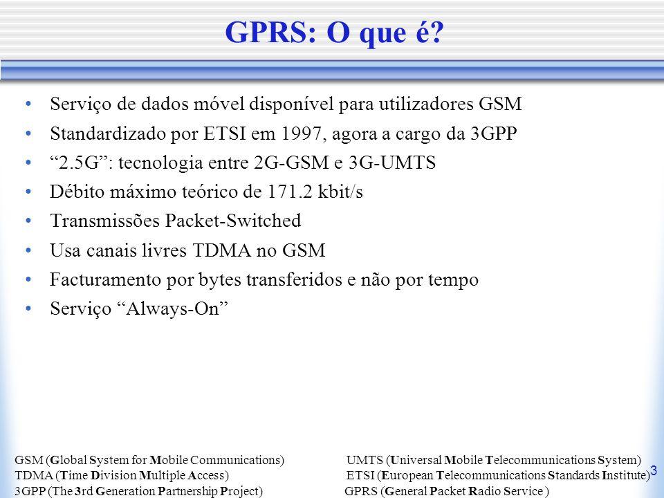 3 GPRS: O que é? Serviço de dados móvel disponível para utilizadores GSM Standardizado por ETSI em 1997, agora a cargo da 3GPP 2.5G: tecnologia entre