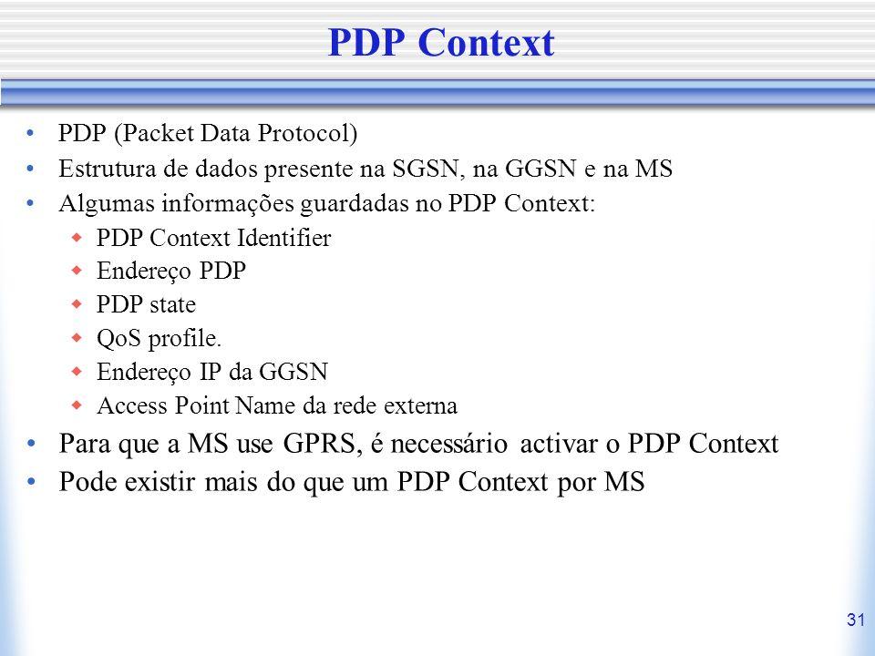 31 PDP Context PDP (Packet Data Protocol) Estrutura de dados presente na SGSN, na GGSN e na MS Algumas informações guardadas no PDP Context: PDP Conte