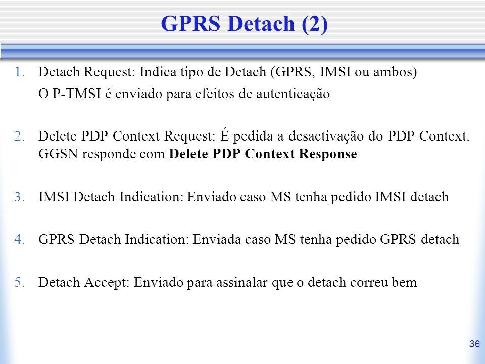 36 GPRS Detach (2) 1.Detach Request: Indica tipo de Detach (GPRS, IMSI ou ambos) O P-TMSI é enviado para efeitos de autenticação 2.Delete PDP Context