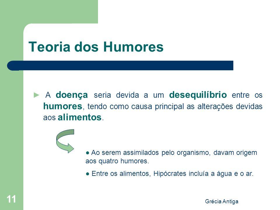 Grécia Antiga 11 Teoria dos Humores A doença seria devida a um desequilíbrio entre os humores, tendo como causa principal as alterações devidas aos al