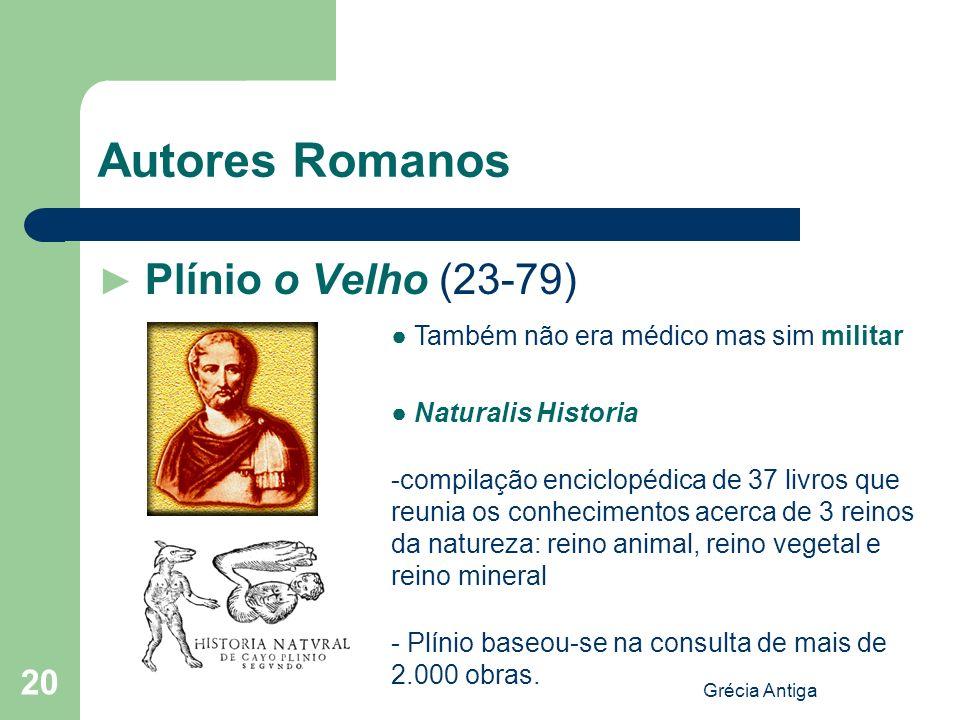 Grécia Antiga 20 Autores Romanos Plínio o Velho (23-79) Também não era médico mas sim militar Naturalis Historia -compilação enciclopédica de 37 livro