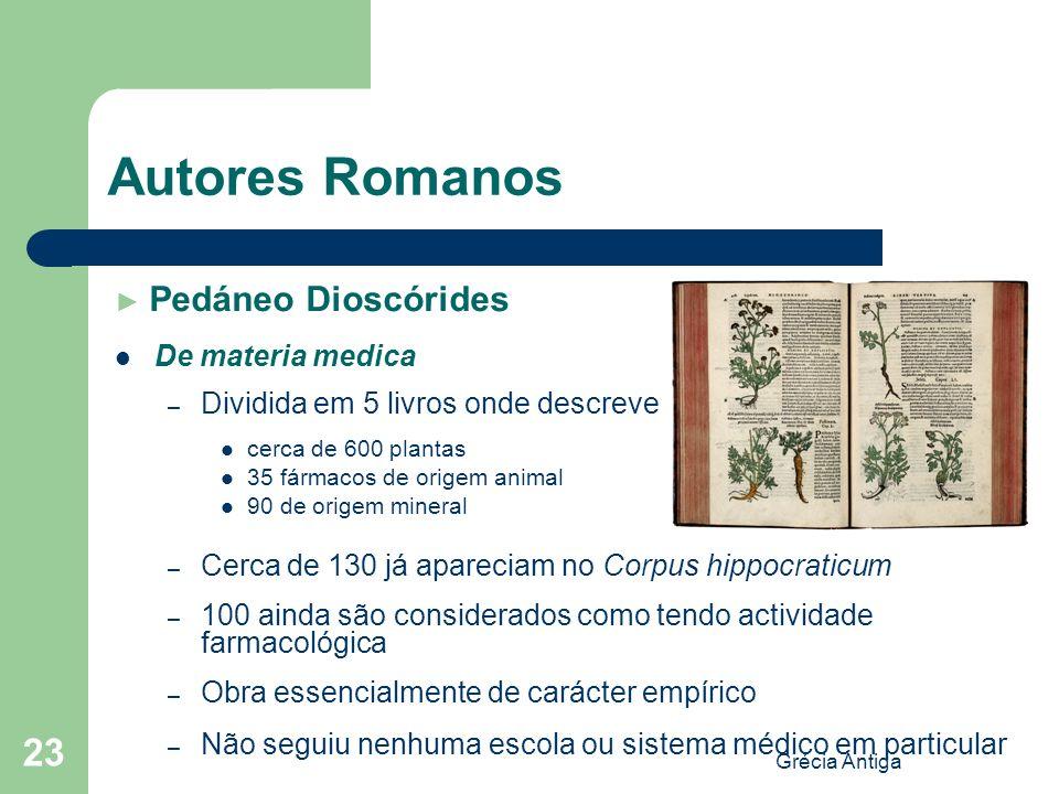 Grécia Antiga 23 Autores Romanos Pedáneo Dioscórides De materia medica – Dividida em 5 livros onde descreve cerca de 600 plantas 35 fármacos de origem