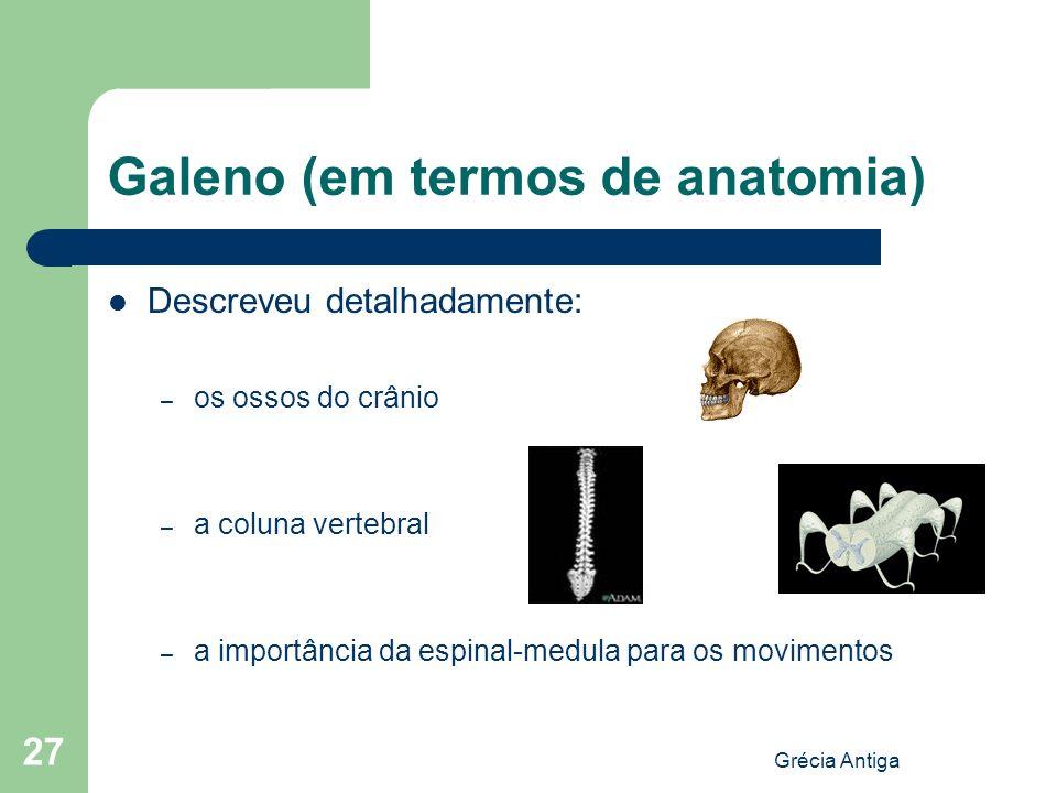 Grécia Antiga 27 Galeno (em termos de anatomia) Descreveu detalhadamente: – os ossos do crânio – a coluna vertebral – a importância da espinal-medula