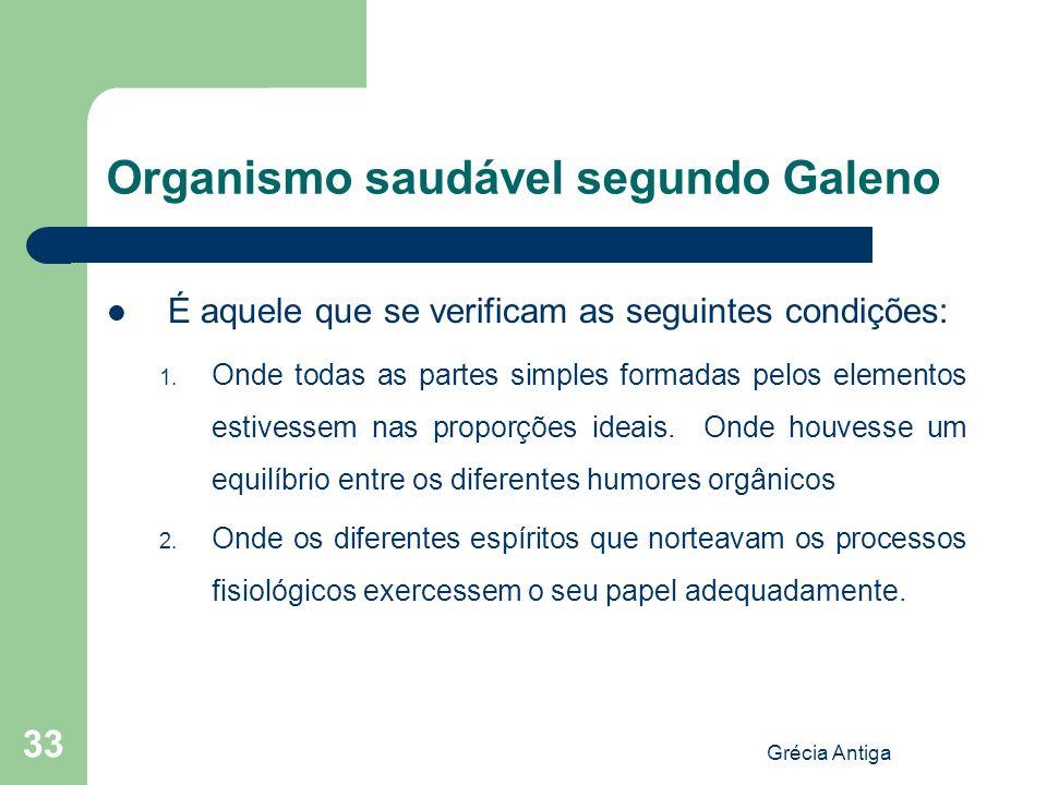 Grécia Antiga 33 Organismo saudável segundo Galeno É aquele que se verificam as seguintes condições: 1. Onde todas as partes simples formadas pelos el