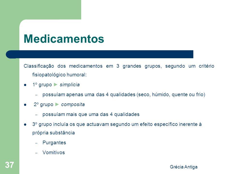 Grécia Antiga 37 Medicamentos Classificação dos medicamentos em 3 grandes grupos, segundo um critério fisiopatológico humoral: 1º grupo simplicia – po