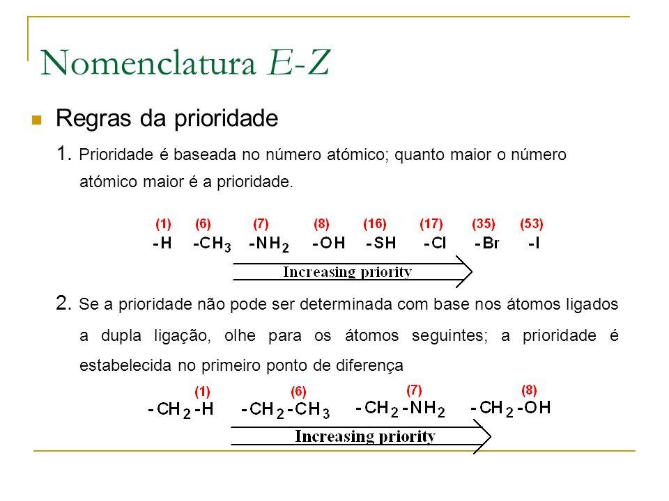 Nomenclatura E-Z Regras da prioridade 1. Prioridade é baseada no número atómico; quanto maior o número atómico maior é a prioridade. 2. Se a prioridad