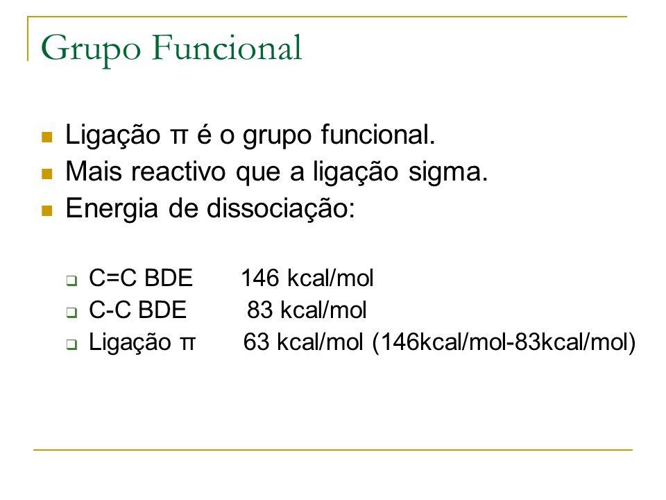 Grupo Funcional Ligação π é o grupo funcional. Mais reactivo que a ligação sigma. Energia de dissociação: C=C BDE 146 kcal/mol C-C BDE 83 kcal/mol Lig