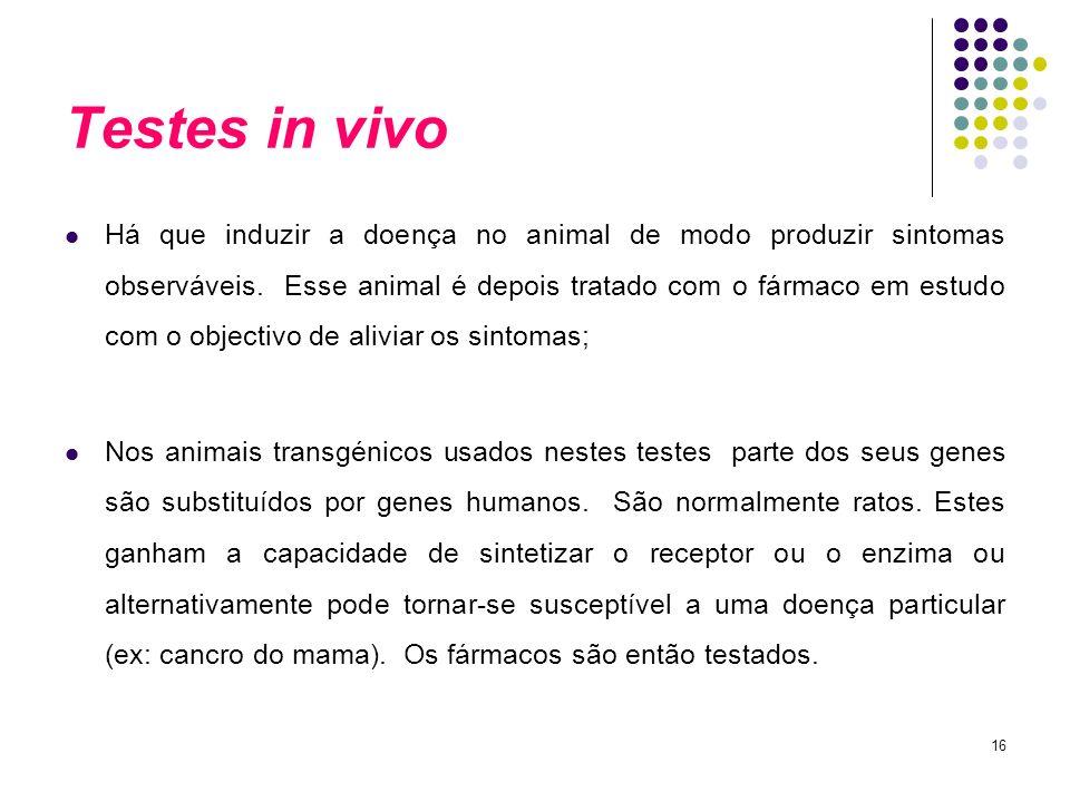 16 Testes in vivo Há que induzir a doença no animal de modo produzir sintomas observáveis. Esse animal é depois tratado com o fármaco em estudo com o