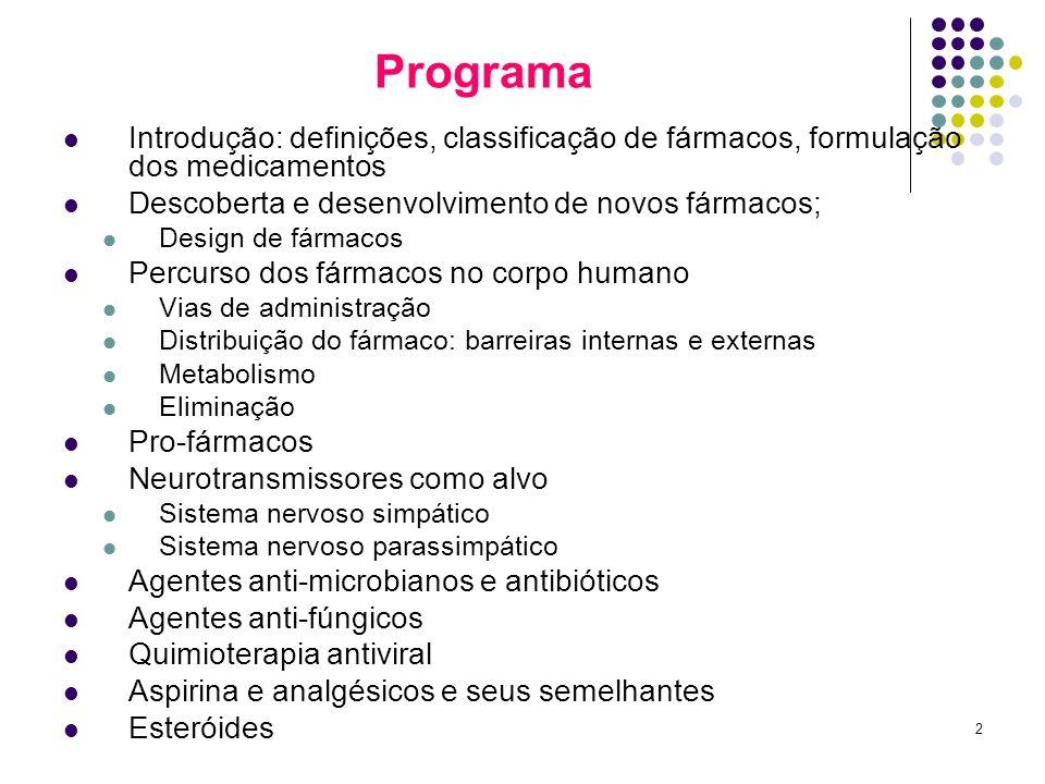 2 Programa Introdução: definições, classificação de fármacos, formulação dos medicamentos Descoberta e desenvolvimento de novos fármacos; Design de fá